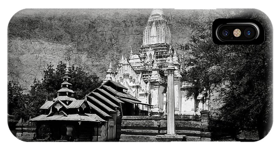 Whitewashed Temple IPhone X Case featuring the photograph Old Whitewashed Lemyethna Temple Bw by RicardMN Photography