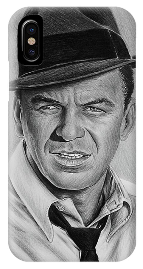Frank Sinatra IPhone X Case featuring the drawing Ole Blue Eyes by Andrew Read