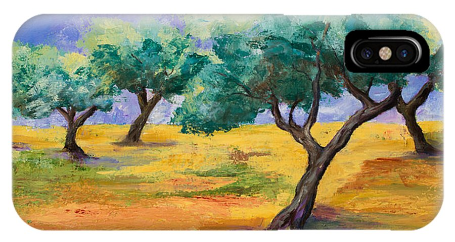 Olive Tree Grove IPhone X Case featuring the painting Olive Trees Grove by Elise Palmigiani