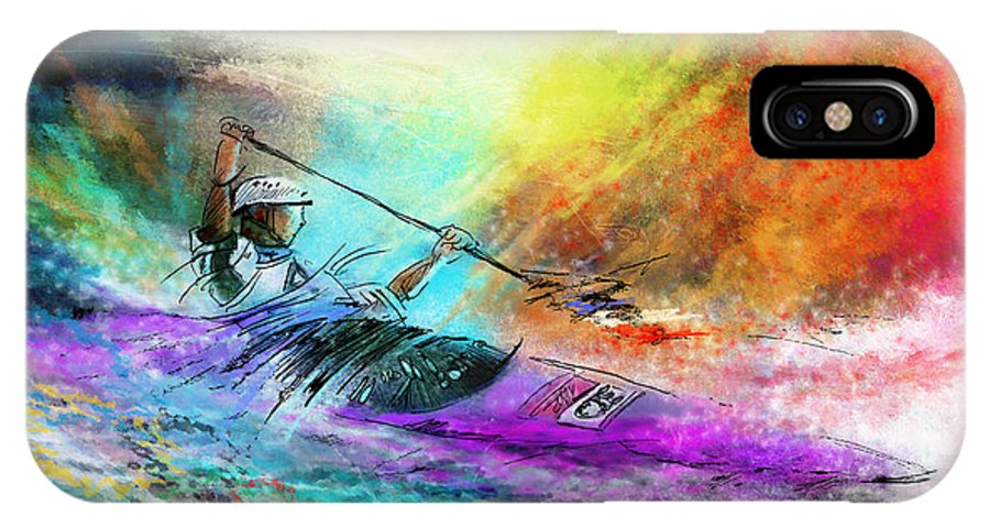 Sports IPhone X Case featuring the painting Olympics Canoe Slalom 03 by Miki De Goodaboom