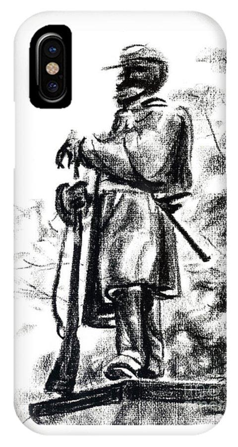 On Duty In Brigadoon No Ch101 IPhone X Case featuring the drawing On Duty in Brigadoon No CH101 by Kip DeVore