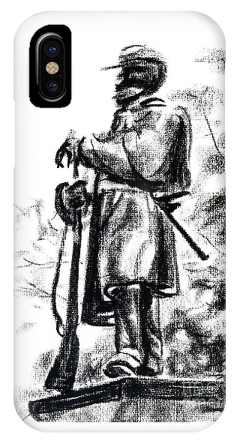 On Duty In Brigadoon No Ch101 IPhone Case featuring the drawing On Duty In Brigadoon No Ch101 by Kip DeVore