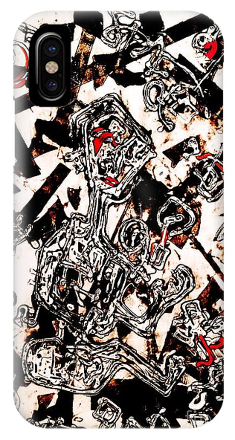 Intaglio IPhone X Case featuring the painting On My Own In A Playpen by Sanjib Mallik