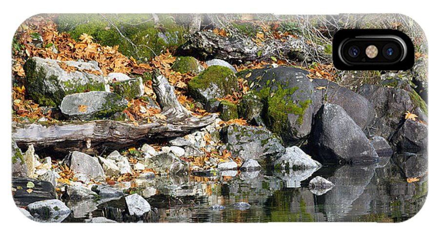 Rocks IPhone X Case featuring the photograph On The Edge Of The Lake by Sharon Talson
