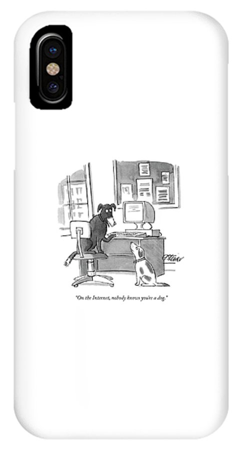 On The Internet IPhone X Case featuring the drawing On The Internet by Peter Steiner