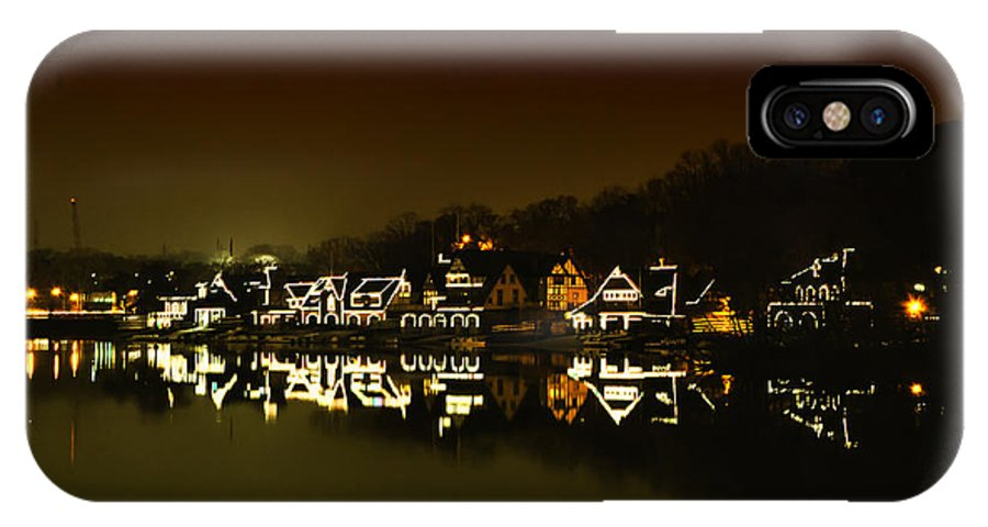 On The River At Night IPhone X Case featuring the photograph On The River At Night - Boathouse Row by Bill Cannon