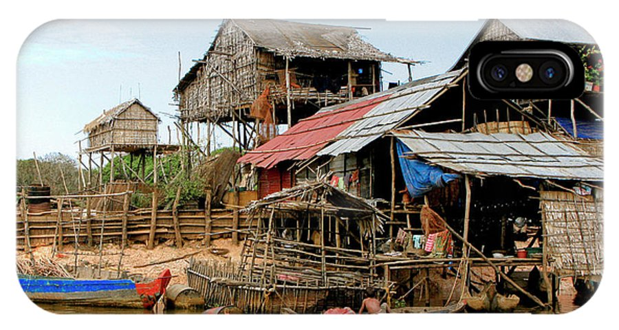 Bamboo Huts IPhone X Case featuring the photograph On The Shores Of Tonle Sap by Douglas J Fisher