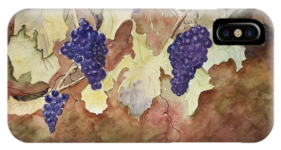 Grapes IPhone X Case featuring the painting On The Vine by Patricia Novack