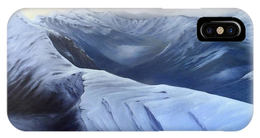 Landscape IPhone X Case featuring the painting On Top Of The Pass by Dawson Taylor
