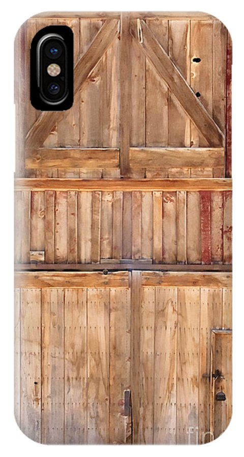 Details; Close Up; Barn; Door; Handle; Wood; Wooden; Detail; Closed; Windows; Entrance; Exit; Farm; Facade; Painted; Peeling; Red; Stained; Locked; Lock; Farm IPhone X Case featuring the photograph Once Red Doors by Margie Hurwich