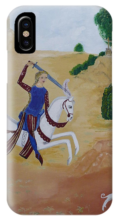 Joan Of Arc On Her White Horse IPhone Case featuring the painting Once Upon A Time by Coco de la garrigue