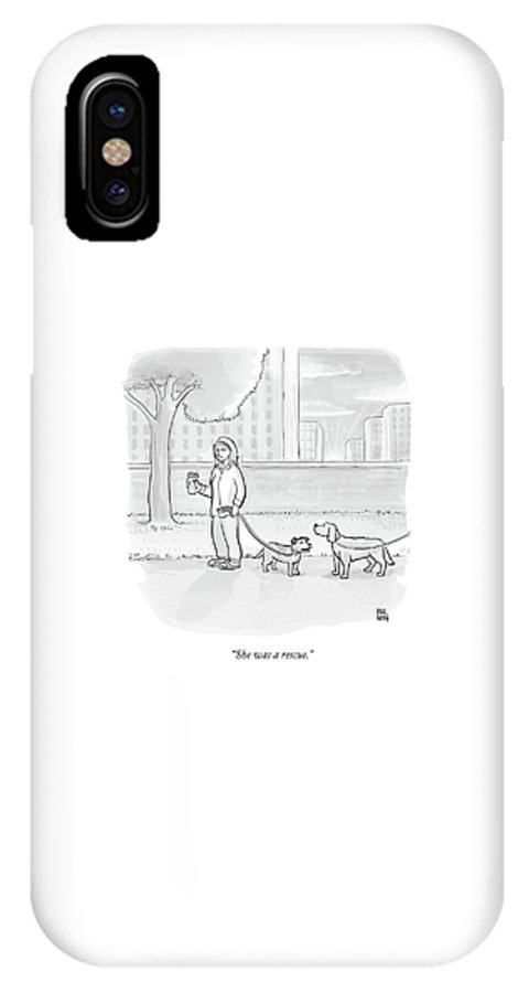 Dogs IPhone X Case featuring the drawing One Dog Talks To Another by Paul Noth