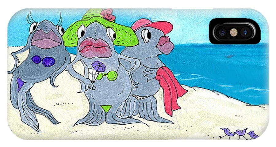 Fish IPhone X Case featuring the mixed media One Fish Two Fish by Lizi Beard-Ward