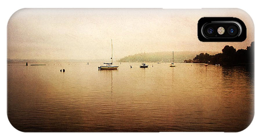 Boats IPhone X Case featuring the photograph One Foggy Morning by Sylvia Cook