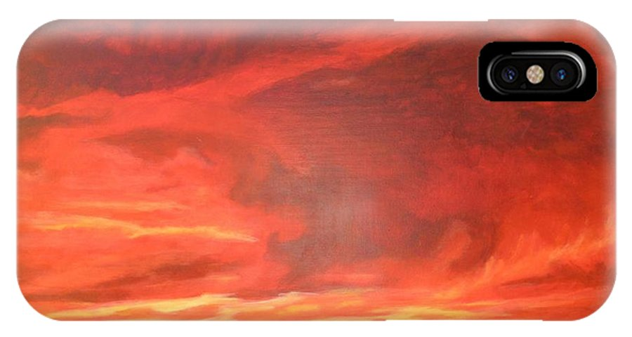 Western IPhone X Case featuring the painting One Last Look by Janis Mock-Jones