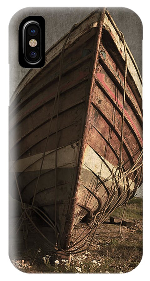 Abandoned IPhone X Case featuring the photograph One Proud Boat by Svetlana Sewell
