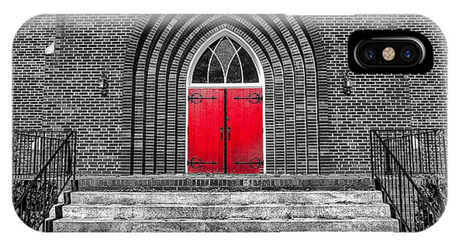 Architecture IPhone X / XS Case featuring the photograph One Red Door by S Cass Alston