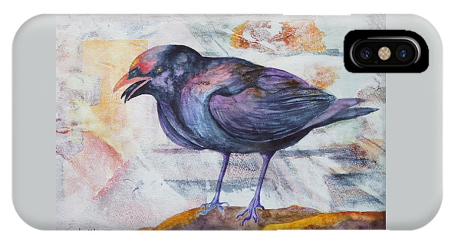 Crow IPhone X Case featuring the painting One Sided Conversation by Nancy Jolley