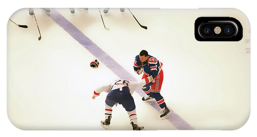 Hockey IPhone X Case featuring the photograph One Two Punch by Karol Livote