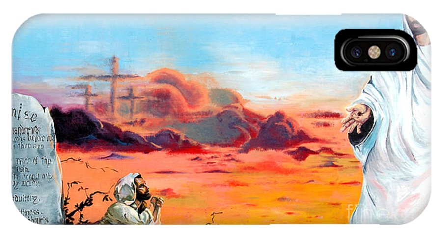 Religious IPhone X Case featuring the painting Only Though Prayer by Linda Rae Cuthbertson