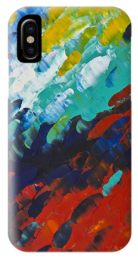 Color IPhone X Case featuring the painting Only Till Eternity 1st Panel by Sharon Cummings