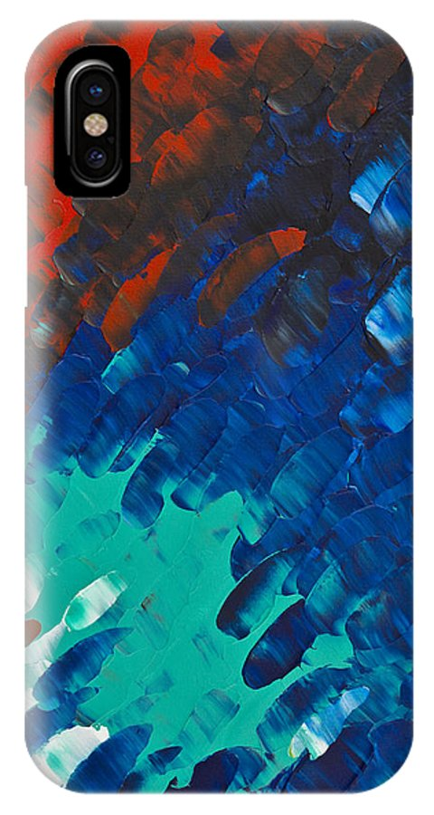 Color IPhone X Case featuring the painting Only Till Eternity 3rd Panel by Sharon Cummings