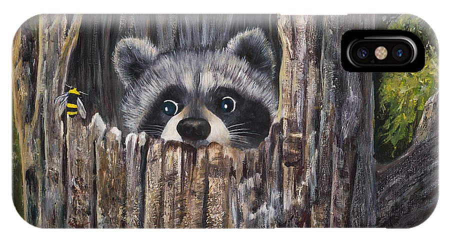 Raccoon IPhone X Case featuring the painting Ooops by Carol Verstoppen