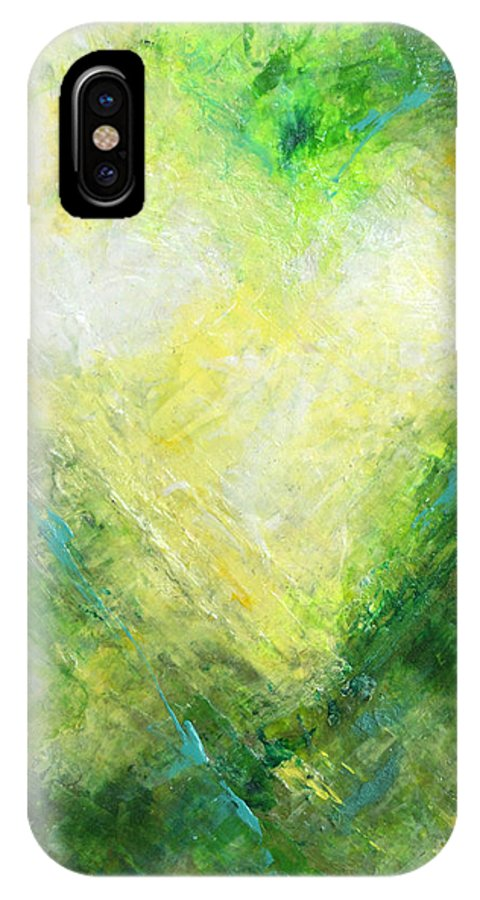 Heart IPhone X Case featuring the painting Open Heart Green Abstract Urban Heart Painting by Belinda Capol