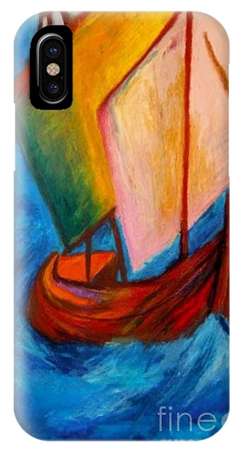 Sailboat IPhone Case featuring the pastel Open Sail by Jon Kittleson