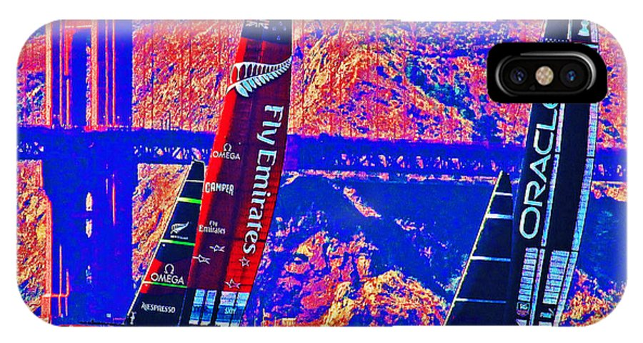 America's Cup IPhone X Case featuring the photograph Oracle And Emirates by Steven Holloway