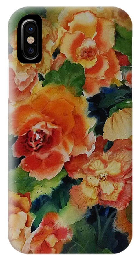 Begonias IPhone X Case featuring the painting Orange Burst by Michele Thorp