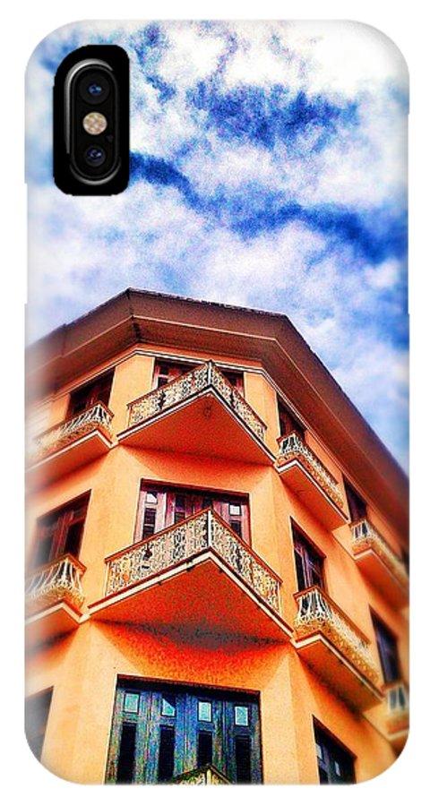 Old San Juan IPhone X Case featuring the digital art Orange Corner by Olivier Calas