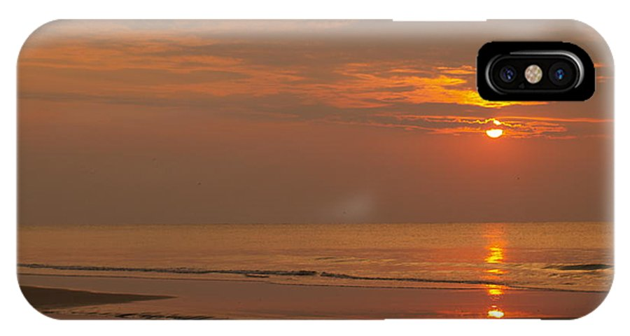 Sunrise IPhone X Case featuring the photograph Orange Dawn At Hunting Island State Park by Anna Lisa Yoder
