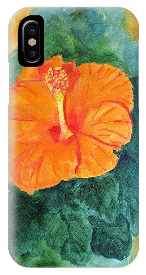 Hibiscus IPhone X Case featuring the painting Orange Hibiscus by Sandy McIntire