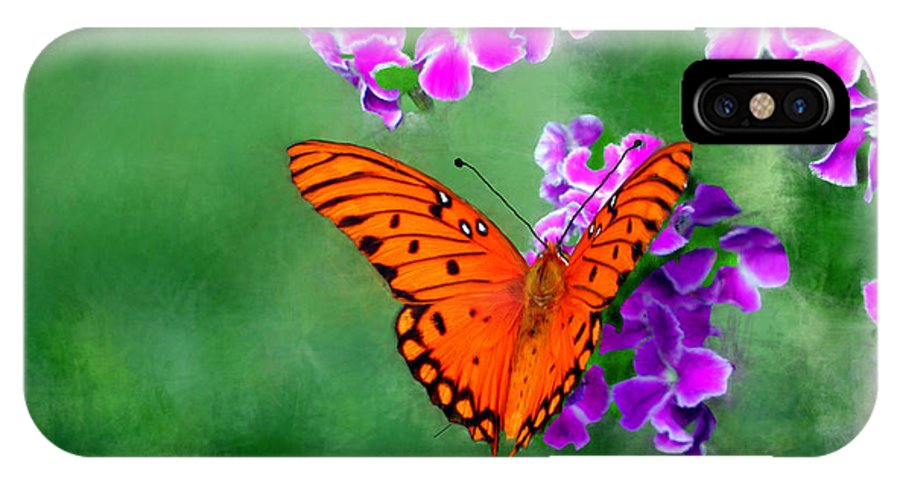 Orange IPhone X Case featuring the painting Orange Monarch Butterfly by Bruce Nutting