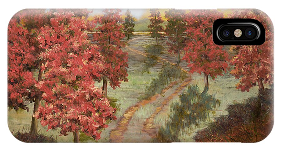 Landscape IPhone X Case featuring the painting Orange Pines by Vic Mastis