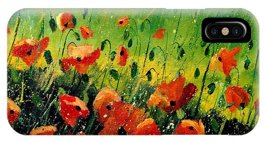 Poppies IPhone X / XS Case featuring the painting Orange Poppies by Pol Ledent