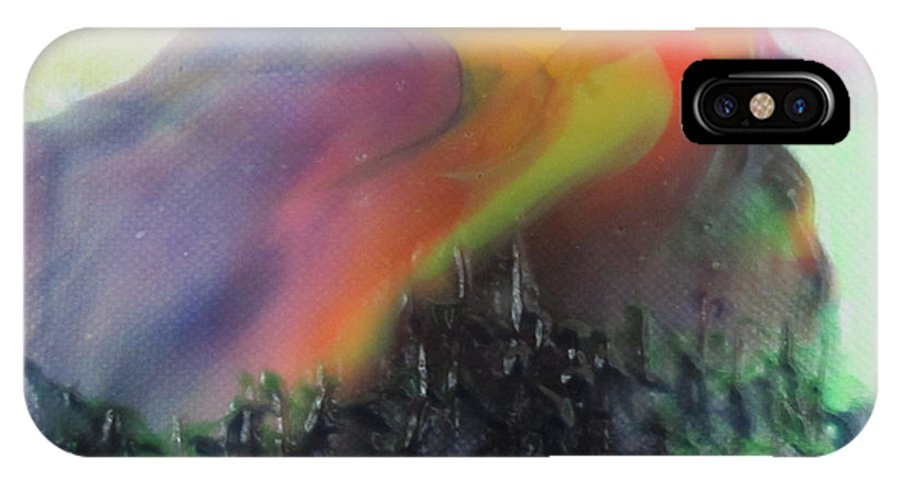 Acrylic IPhone X Case featuring the painting Orange Sun Blue Moon And Snow by Lew Hagood