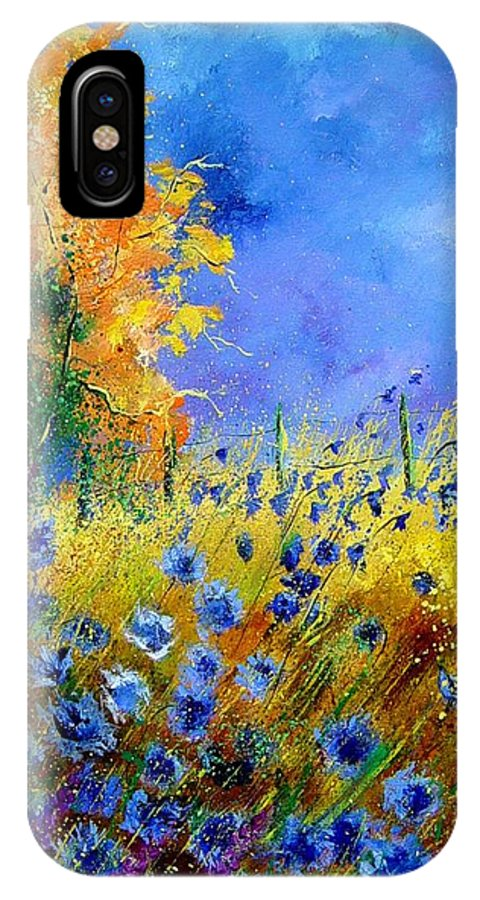 Poppies IPhone X Case featuring the painting Orange tree and blue cornflowers by Pol Ledent