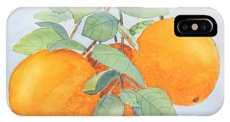 Orange IPhone X Case featuring the painting Orange Trio by Patricia Novack