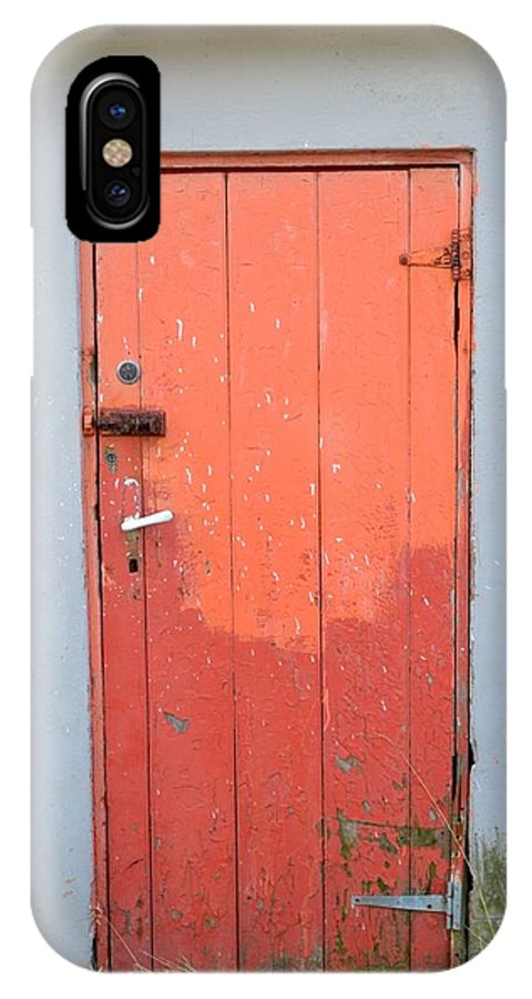 Iceland IPhone X Case featuring the photograph Orange Two Tone Iceland Door by Paula Deutz