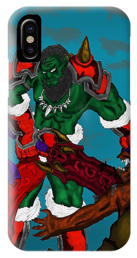 IPhone X Case featuring the digital art Orc by Marcelo Peruca