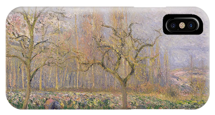 Verger A Pontoise; Landscape; Tree; Gardening; Gardener; Daily Life Scene; Tree; Trees; Vegetable Garden; Ile-de-france; Impressionist IPhone X Case featuring the painting Orchard At Pontoise by Camille Pissarro
