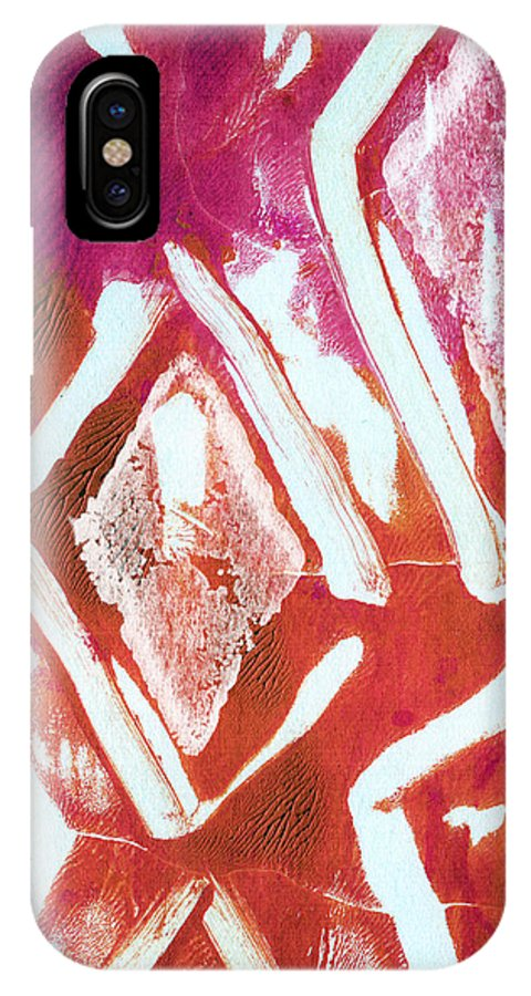 Contemporary Abstract Painting IPhone X Case featuring the painting Orchid Diamonds- Abstract Painting by Linda Woods