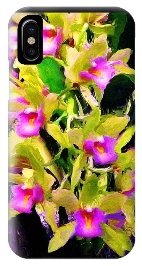 Orchids IPhone X Case featuring the painting Orchid Flower Bunch by Susanna Katherine