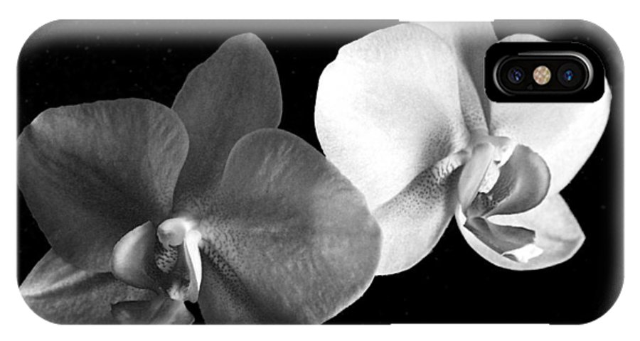Floral IPhone X Case featuring the photograph Orchid in black and white by Steve Karol