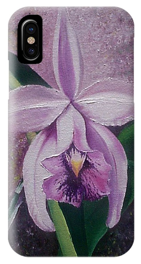 Orchid Purple Floral Botanical IPhone Case featuring the painting Orchid Lalia by Karin Dawn Kelshall- Best