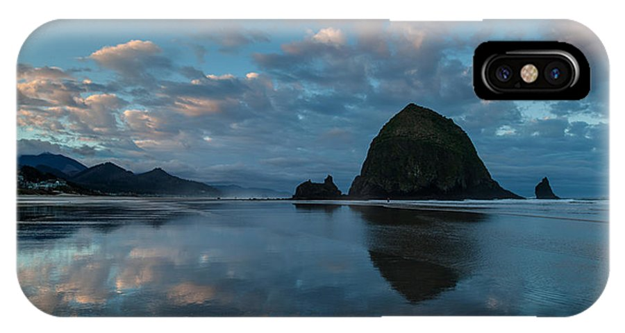 Haystack Rock IPhone X Case featuring the photograph Oregon Coast Cloudscape Sunrise by Mike Reid