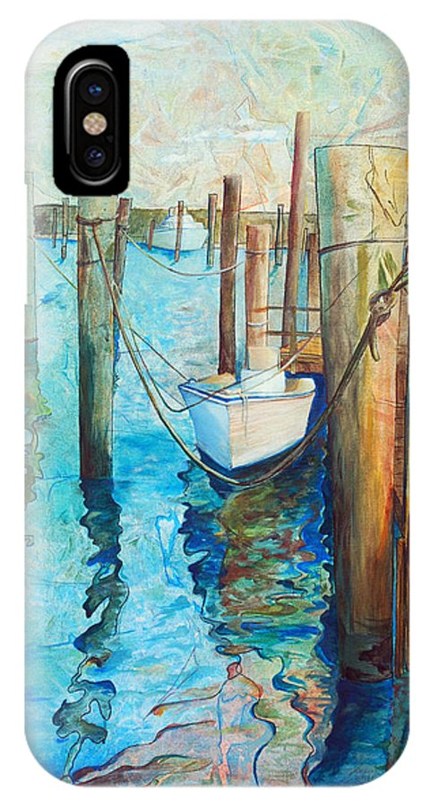 North Carolina IPhone X Case featuring the painting Oregon Inlet by Arlissa Vaughn