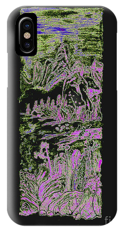 Oriental IPhone X Case featuring the photograph Oriental Abstract Watercolor by Merton Allen